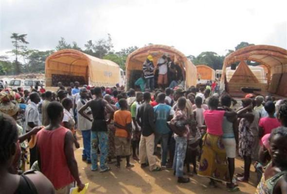 Réfugiés Ivoiriens à leur arrivée